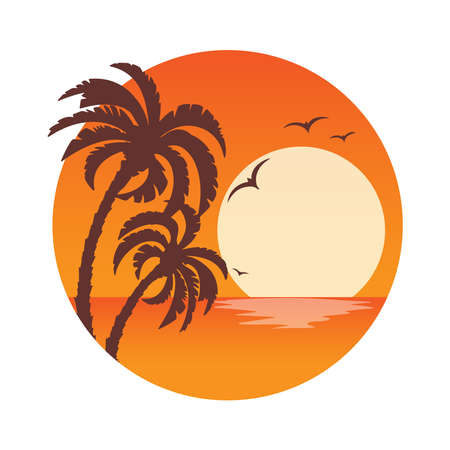 Tropical landscape with palm trees silhouettes on an orange background with a circle .Sunset. Icons,  or labels.
