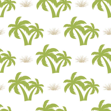 Palm tree. Seamless model Vector Illustration on a white background.
