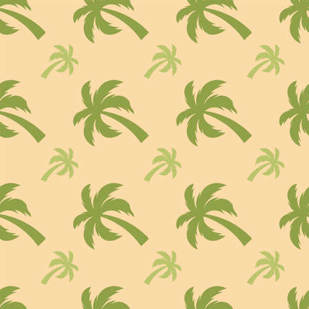 Palm tree. Seamless model Vector Illustration on a beige background.