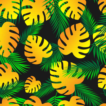 Palm leaves.Tropical pattern of green and yellow leaves on a black background. Seamless pattern Vector background