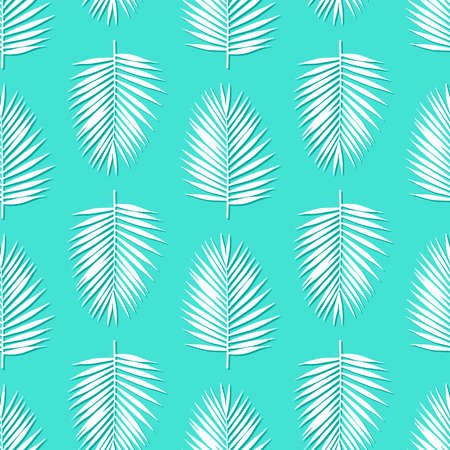 white palm leaves on a blue background exotic tropical Hawaii seamless pattern vector Ilustracja
