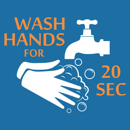 Wash your hands for 20 seconds with soap under running water. Hand washing flat icon.Vector illustration