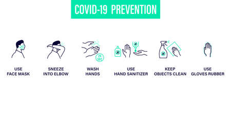 Prevention line icons set isolated on white. contour symbols Coronavirus Covid 19 pandemic banner. Quality design elements mask, gloves, wash disinfect hands Ilustracja
