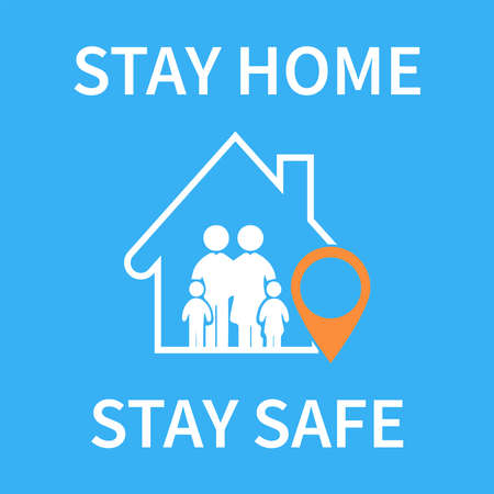 Stay at home family under the roof of the house with a sign. The the campaign for the protection from viruses or coronaviruses. Self-isolation is used as a sign or symbol. Vector illustration