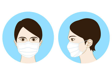 A woman in a medical face protection mask.Front and side view. Icons of a person wearing protective surgical masks. illustration for the concepts of disease, coronavirus, quarantine Ilustracja