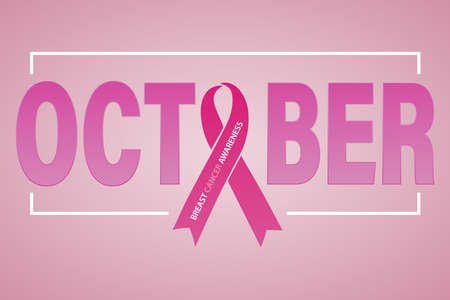 Symbol of breast cancer awareness month in October. Pink ribbon. Poster template. Vector illustration.