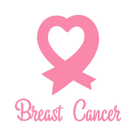 Pink ribbon in the shape of a heart. Breast cancer awareness symbol. World breast cancer day.Flat design