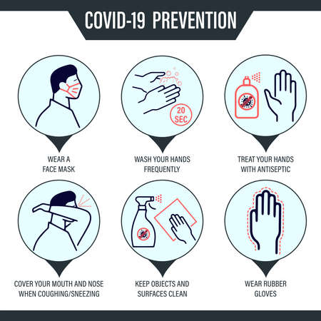 Vector icons of dashed lines with practical tips for preventing infection with the covid19 corona virus Ilustracja