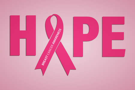 Hope lettering design with pink ribbon. A month-long campaign to spread information about breast cancer.