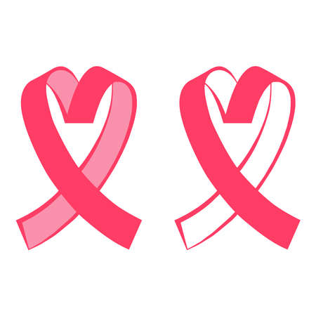 Breast cancer awareness. flat design of pink heart-shaped ribbon. Vector illustration