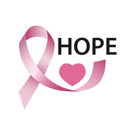 Hope, pink ribbon, heart. The concept of breast cancer awareness. Ilustracja
