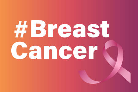 Breast cancer awareness month  illustration on a gradient background.
