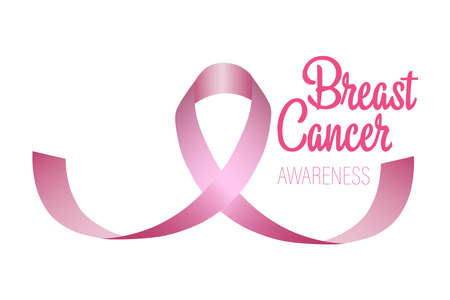 The curve of a pink ribbon in the shape of a breast. A month-long campaign to spread awareness about breast cancer. Icon design. Vector illustrations isolated on a white background.