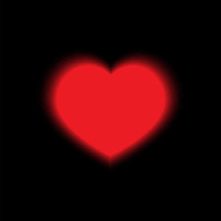 Red glowing heart on a black background Ilustracja