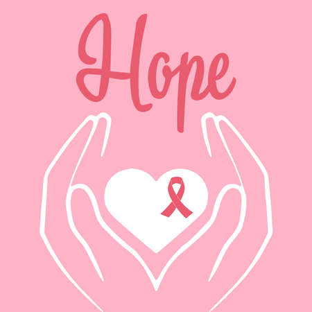 Concept of healthcare and medicine. Pink breast cancer awareness ribbon vector illustration.Women's hands hold a heart with a pink ribbon to raise awareness of breast cancer. Ilustracja