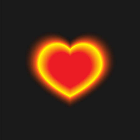 Yellow-red glowing heart on a black background