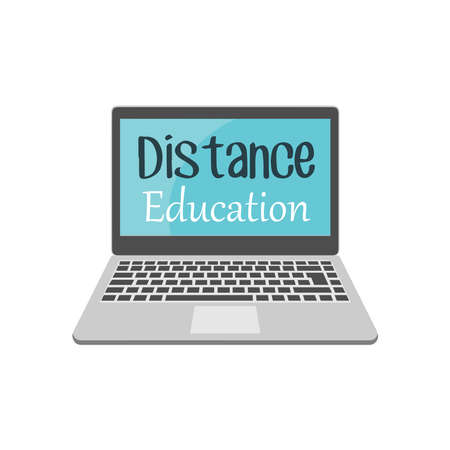 Online education and distance learning at home. The concept of online learning. Online education with a laptop and students. Distance learning. Vector illustrations.