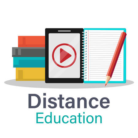 The Digital online education app is taught all over the world by phone, on a mobile website. the concept of social distance. decor by the book lecture pencil mobile.Flat vector illustration