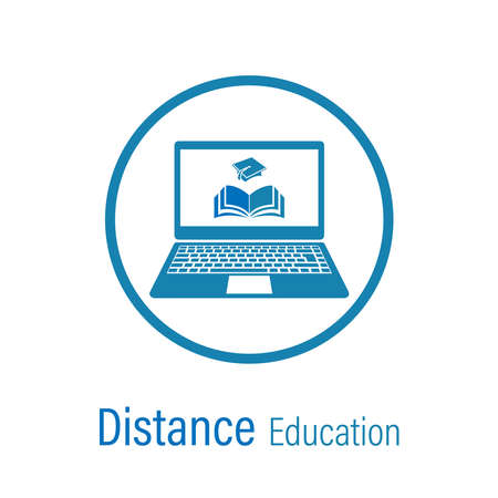Distance education vector icon isolated on a white background