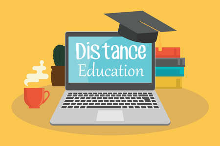 Distance education or business training. The inscription remote education on the laptop monitor. Ilustracja