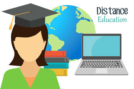 E-learning, online learning at home.The concept of online education. Online training courses, specializations, training programs, lectures.E-learning banner.Fashionable flat vector illustrations