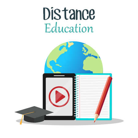 The Digital online education app is taught all over the world by phone, on a mobile website. the concept of social distance. decor by the book lecture pencil hat mobile.Flat vector illustration