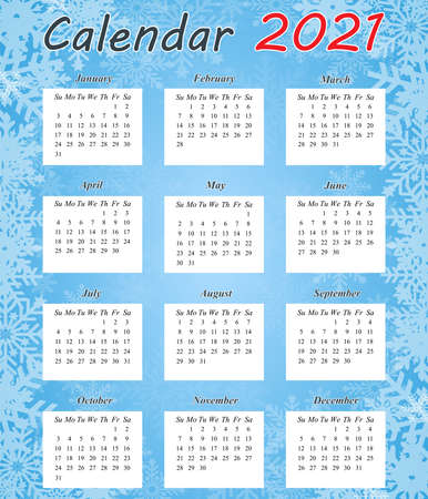 Design of the calendar for 2021. Monthly calendar for 2021. The set is designed for 12 months. The week starts on Sunday. Abstract art of vector illustrations.
