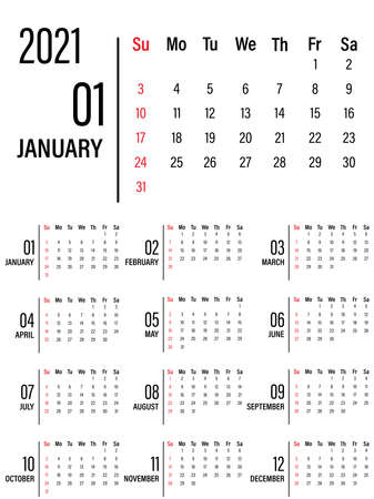 Calendar for 2021, isolated on a white background. From Sunday to Monday, the business template. Vector illustration