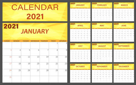 Planner calendar 2021 for corporate design template, the week starts on Sunday.