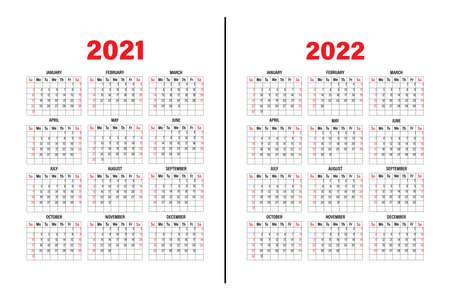 Calendar template 2021 and 2022. The design of the calendar in black and white, weekend in red tones. Vector