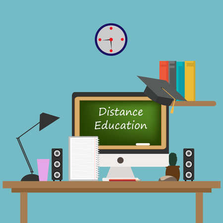 The concept of online education. Home schooling in quarantine. Distance learning on a computer.E-learning platform, flat vector illustrations