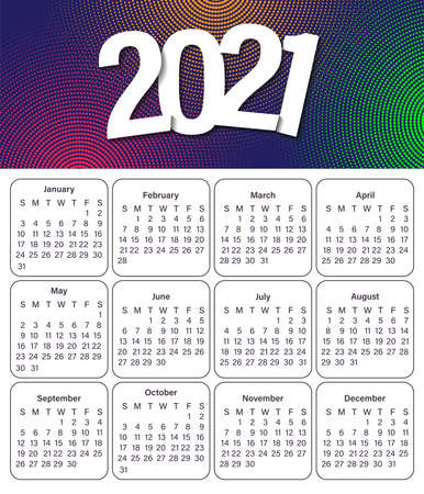 Design of the 2021 calendar. Monthly calendar 2021. Set for 12 months. The week starts on Sunday. Abstract art vector illustrations. Ilustracja