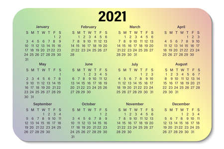 Calendar for 2021, isolated on a gradient background. The week starts on Sunday, a business template. Vector illustration