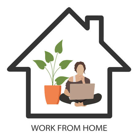 Work from home during the COVID-19 virus outbreak. Quarantine measures for the prevention of coronavirus. Prevent the spread of infection. A person working on a laptop. Vector illustration.