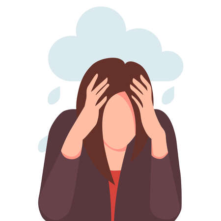 A sad, unhappy young woman holds her head in her hands. Psychology, depression, bad mood, stress. Flat vector illustrations.