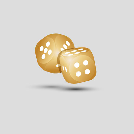 Golden dice with numbers and shadow.