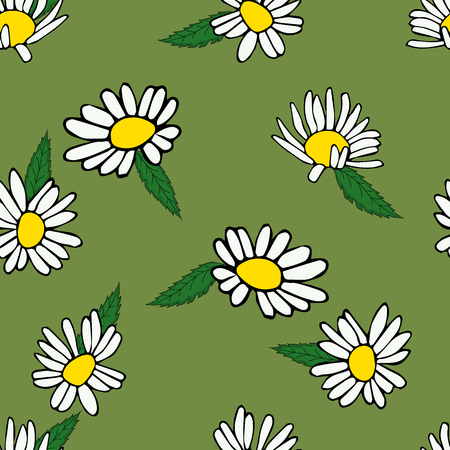 Daisies painted by hand seamless background.