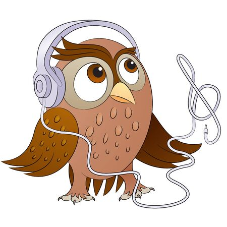 Cute Music Fan Owl With Headphones Character