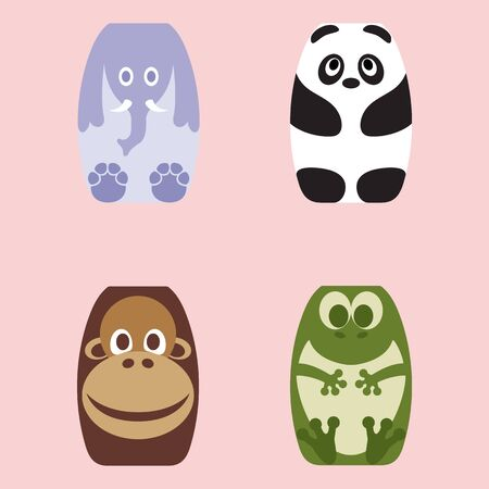 Set of Four Cute Cartoon Animals Character Çizim