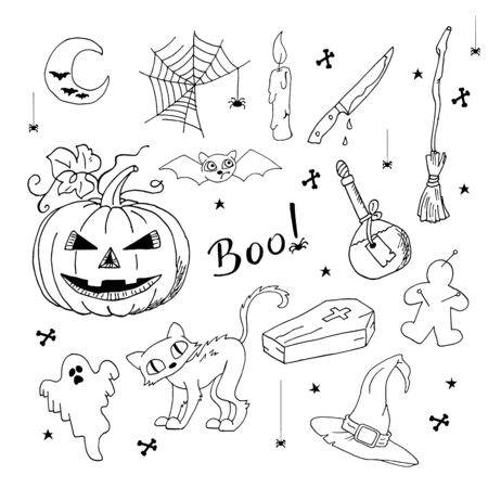 Cheerful hand drawn set of Halloween elements. Ilustrace