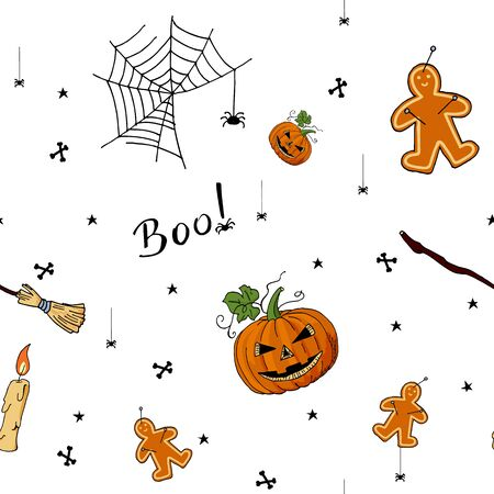 Cute hand drawn pattern of Halloween elements for backgrounds and decorations.