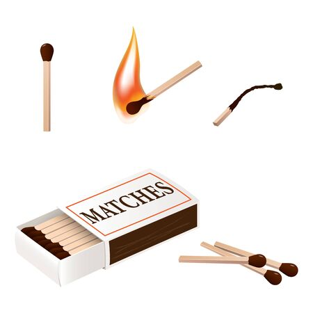 A set of matches, boxes and burning matches.