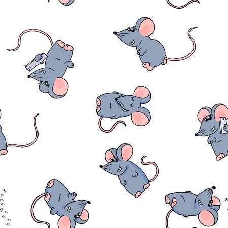 Nahtloses Muster von niedlichen farbigen lustigen Mäusen auf weißem Hintergrund.