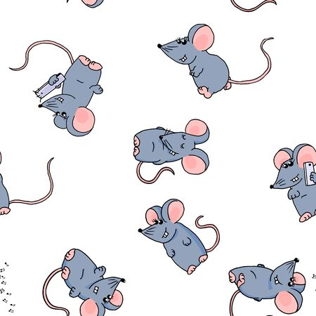 Seamless pattern of cute colored funny mice on a white background.