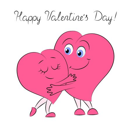 Two cute pink hearts are hugging. Can be used to decorate clothes, dishes, gift wrapping and other.