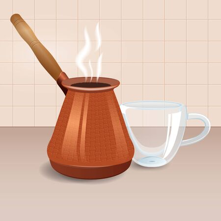 Coffee copper pot and double-walled glass cup.