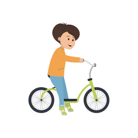 A boy without a helmet is riding a balance bike.