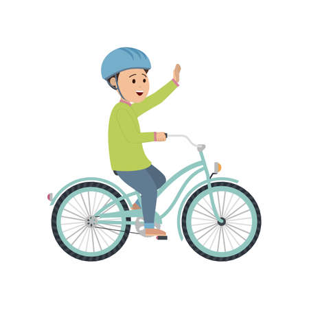 A boy in a helmet rides a bicycle.