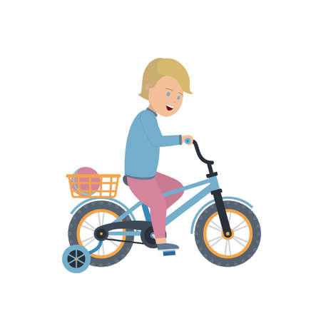 A boy without a helmet rides a four-wheeled bicycle. Isolated