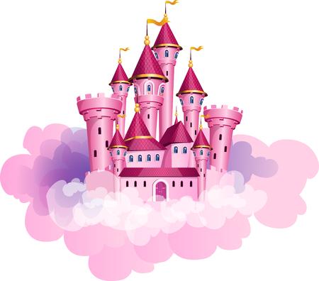 Ilustracja różowego zamku księżniczki magii w chmurach.